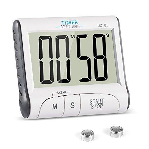 DerrySun Digitaler Küchentimer Magnetisch Kurzzeitmesser küche Elektronischer Timer und Stoppuhr mit Großem LCD Display 24H Mini Countdown Timer Schallendem Alarm Einklappbarer Ständer
