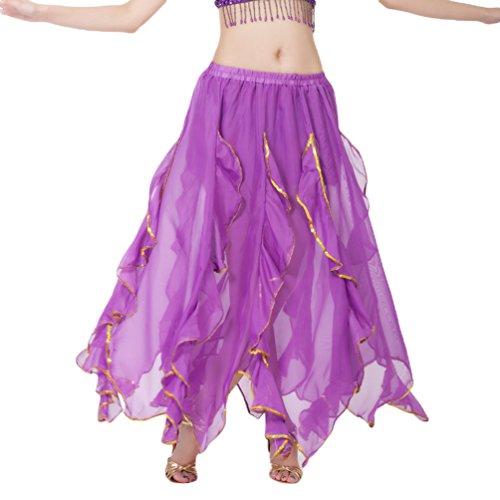 Yuandian donna chiffon lungo gonna di danza del ventre foglie di loto filo d'oro vita elastica professionale arabian oriental belly dance prestazione gonne prospettiche costume viola scuro