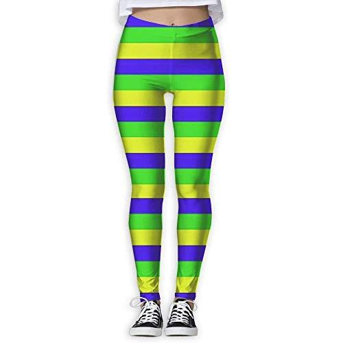 Deglogse Yogahosen, Trainingsgamaschen,Mardi Gras Stripe Womens Exercise High Waisted Yoga Leggings Workout Pants for Women -