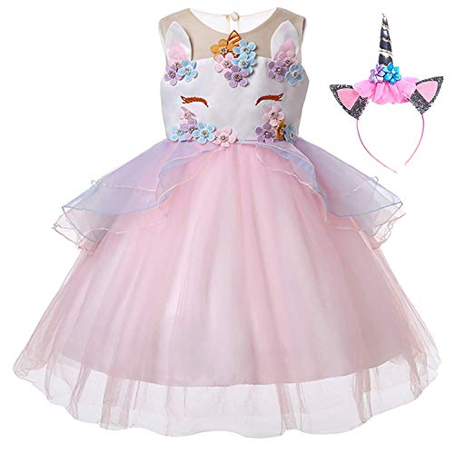 Yigoo Einhorn Mädchen Prinzessin TüTü Kleider Kostüm Abendkleider Cocktailkleid Karneval Kosplay Party Verkleidung Outfits mit Haarreif Rosa - Little Pony Kostüm