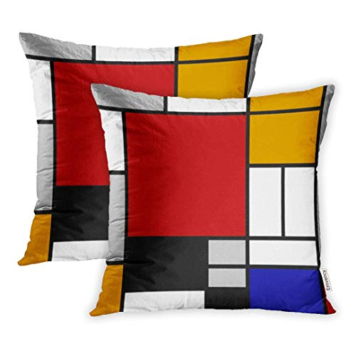DAICHAI Kopfkissenbezug Set of 2 18x18 Inch Yellow Mondrian Abstract Geometric Colorful Pattern Continuous Replicate Red Black Throw Pillow Covers Decorative Pillowcase Case Cover Two Sided