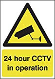"""Signs and Labels AMZGN00250R """"A4 24 hour CCTV in Operation"""" Hazard Safety Sign, 1.2 mm Rigid Polypropylene, 297 mm Length x 210 mm Width"""
