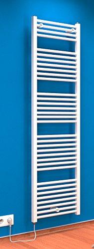 Der Renovierungsprofi Handtuchwärmer Toskana, elektrisch mit Heizstab, 170x50 cm, alpin-weiß, Heizpatrone mit Spiral-Kabel und Schuko-Stecker, Handtuchhalter-Funktion