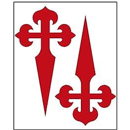 Adesivo Croce di Santiago 2 pezzi 43×73 mm/pezzo. Rosso.