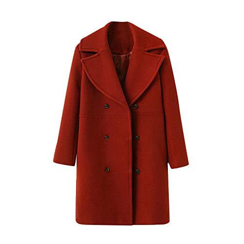 KIMODO Mantel Damen, Jacke Winter Lose Warm Langarm Knopf Woolen Oversize Hoodie Winterjacke Wintermantel Coats Outwear