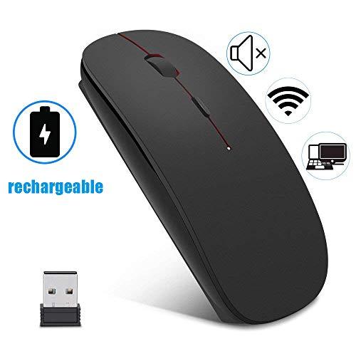 EasyULT Wireless Mäuse, 2.4GHz Kabellose Maus Schnurlos Optische Maus mit USB Empfänger und USB-Kabel für PC/Tablet/Laptop (Schwarz) -