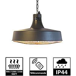 Parasol Chauffant Suspendu Infrarouge HAUMEA - Télécommande - Chauffage électrique de terrasse à Halogène 2100W IP44 - Réglable Radiateur Jardin/Patio/Intérieur