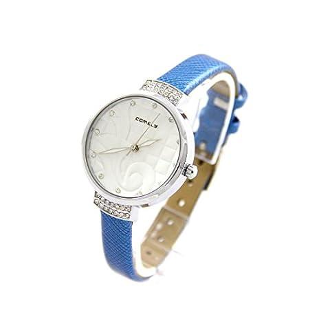Comely - Montre Femme Arabesque Cuir Bleu COMELY 820