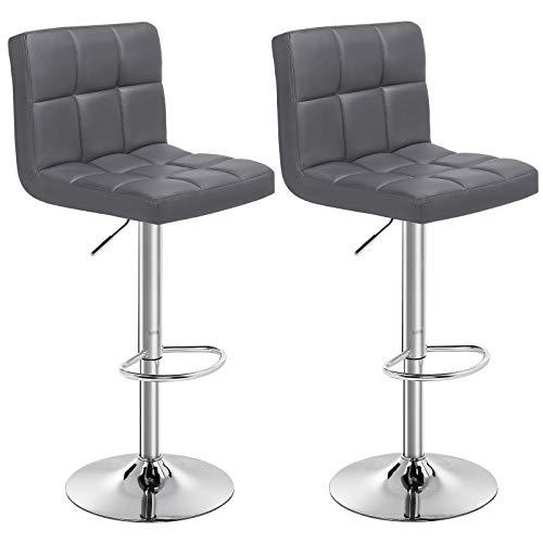 SONGMICS Barhocker 2er Set, höhenverstellbare Barstühle, Barstuhl aus Kunstleder, 360° Drehstuhl, Küchenstühle mit Rückenlehne & Fußstütze, Lobby, Tresen, verchromter Stahl, dunkelgrau LJB64GYZ
