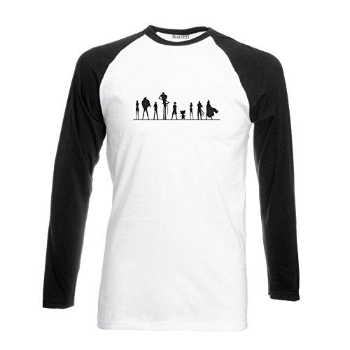 One Piece Cast, Langarm Baseball T-Shirt - Weiss & Schwarz L (104-109 cm) (Tee Shirt Baseball Womens Fitted)