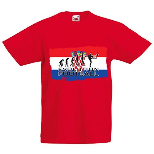 Kinder Jungen/Mädchen T-Shirt Die kroatische Nationale Fußball-Team-Entwicklung, 2018 Weltmeisterschaft Russland (1-2 years Rot Mehrfarben)
