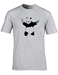 Naughtees clothing - Banksy's Pandamonium Panda with guns T-shirt. An urban art classic.