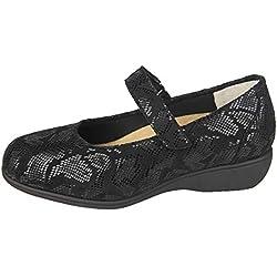 Merceditas Mujer para Plantillas extraibles para juanetes Color Negro con Lycra Ancho Especial con Cierre con Velcro para pies delicados Licra (39 EU)
