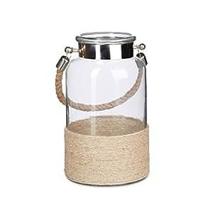 relaxdays windlicht mit kordel lumi 5 liter gro echt glas mit seilgriff aus jute. Black Bedroom Furniture Sets. Home Design Ideas