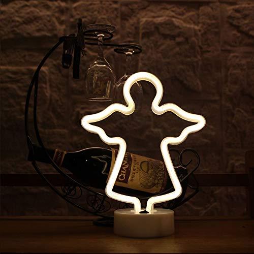 JZWX Home Wohnzimmer Dekoration Nachtlicht Flamingo Kaktus Liebe Neon Stil Lampe Raumdekoration Lampe LED Neonlicht,angelwarmwhite