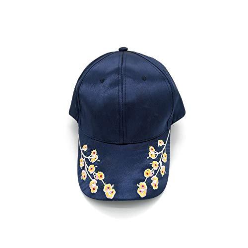 Kostüm Russische Weiblich - mlpnko Satin Flower Baseball Cap Retro Exquisite Stickerei geschwungene Bow Cap männlichen und weiblichen Hut schwarz und blau einstellbar