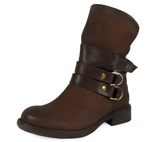 Loudlook Nouveau Chaussures De Dames De Boucle De Cheville Femmes Toison D'hiver Bottes De Travail Taille 3-8 brown