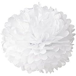 10 unidades pompones de papel de seda para boda. Color blanco.