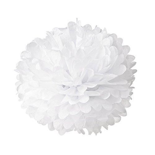 PIXNOR Papierblumen Papier Poms Hochzeit Party Dekoration Kugeln weiß 25 CM, 10er Pack (Pom Poms Diy-gewebe)
