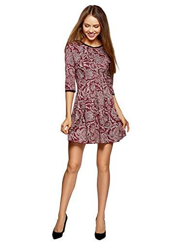 oodji Ultra Damen Kleid mit Faltenrock, Rot, DE 36 / EU 38 / S