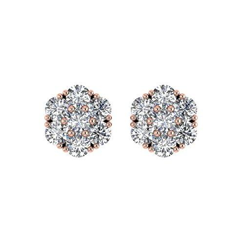 Delight femmes de diamant 18K boucles d'oreille Clous en forme de fleur (I1-I2, 1carat)