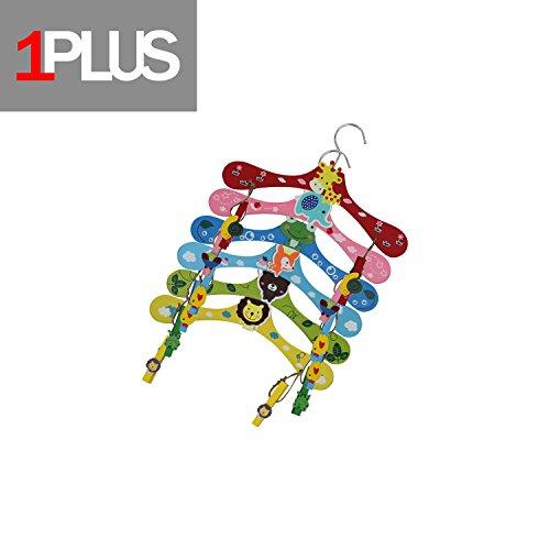 1PLUS Hochwertige Kinder Kleiderbügel im praktischen 6er Spar-Set - Holz-Kleiderbügel in tollen Tier-Looks (Tiere inkl. Klammern) (T-shirt Hanger)