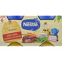 Nestlé Selección Tarrito de puré de verduras y carne, variedad Judías Verdes y Patatas con