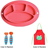 Sealive Baby Silicone Placemat + 1pc Kids Aprons Children Paint Eat Drink Aprons + 1 Set Baby Fork And Spoon Set Training Flatware