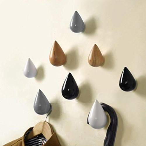 Drop-tür (1 Pcs Holz Wasser Drop Wandhaken, Lenfesh Schick Bad Tür Mantel Hut Haken Wandhänger (9.5cm*5.7cm, Beige))