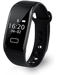 Diggro K18S - Pulsera Inteligente Reloj Smartwatch IP65 Cámara alejada Sport Cuenta Pasos, Podometro, Calorías, Distancia, Ritmo Cardiaco, Call/SMS, Recordatorio Sedentaria, para Andriod iOS (Negro)