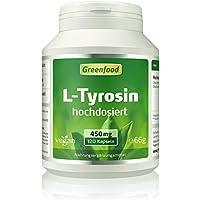 Greenfood L-Tyrosin, 450 mg, hochdosiert, 120 Vegi-Kapseln – beruhigt und hebt die Stimmung. Wichtig für die Schilddrüse... preisvergleich bei fajdalomcsillapitas.eu