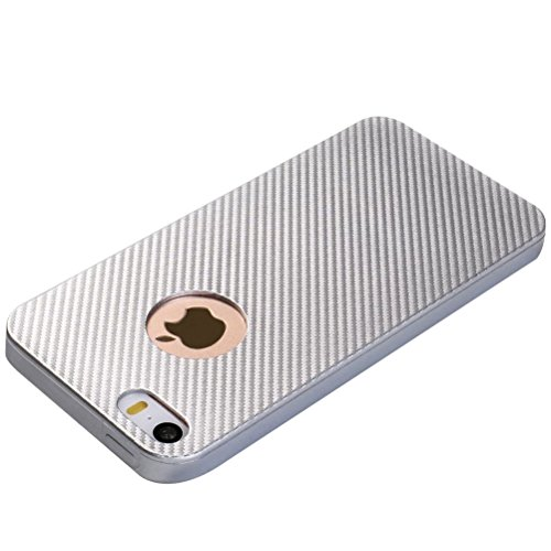MOONCASE iPhone SE /5S Coque, Fibres de Carbone Housse Resilient TPU Etui Antichoc Protection Armure Case pour iPhone 5 / 5S / iPhone SE Noir Argent