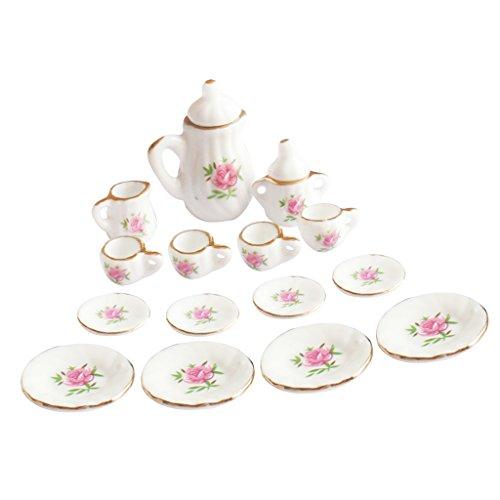Baoblaze 15pcs/Set 1/12 Puppenstuben Küchen Zubehör Mini Essgeschirr Teeservice Porzellan Teeset - Rosa Rose