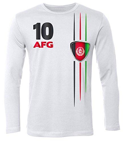 Afghanistan Fussball 5840 Fanshirt Fan Shirt Tshirt Fanartikel Artikel Männer Herren T-Shirts Longsleeve Langarm Weiss S -