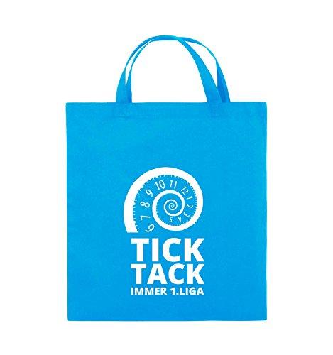 Comedy Bags - TICK TACK IMMER 1.LIGA - SPIRALE - Jutebeutel - kurze Henkel - 38x42cm - Farbe: Schwarz / Pink Hellblau / Weiss