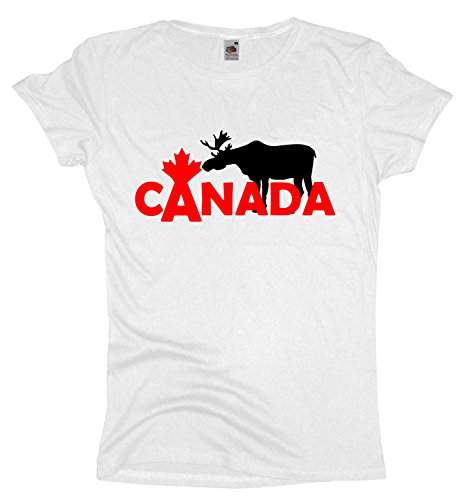 Ma2ca Canada | Elch Bred Damen T-Shirt | Kanada | Shirt-White-XXL (Kanada Unisex T-shirt)