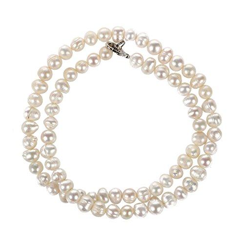 TOOGOO(R)collar de gargantilla en la perla blanca de agua dulce 5mm