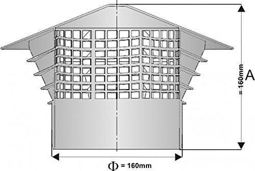 Chapeau de ventilation Hotte–Accessoire–Purgeur de toit DN 160/150aufs Tube