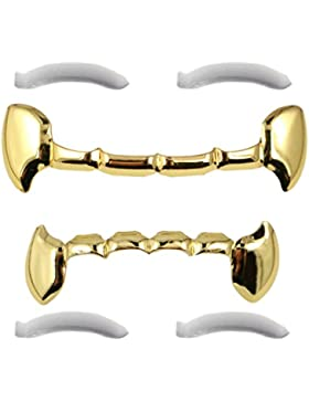 24K Gold Plated Fang Grillz With Behind The Teeth Bar + 2 EXTRA Molding Bars