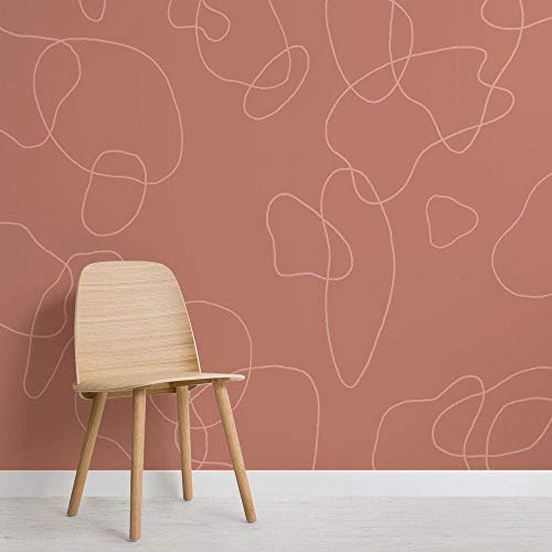Kundenspezifische Tapete modernes nordisches Terrakotta-Gekritzel-Hintergrund-Zusammenfassungs-Tapeten-Wandgemälde 250x175cm