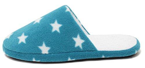 HOME COMFORT Fleece Slipper Hausschuhe warm mit fester Sohle für Damen und Mädchen Gr. 37-41 STERNE STARS aqua blue