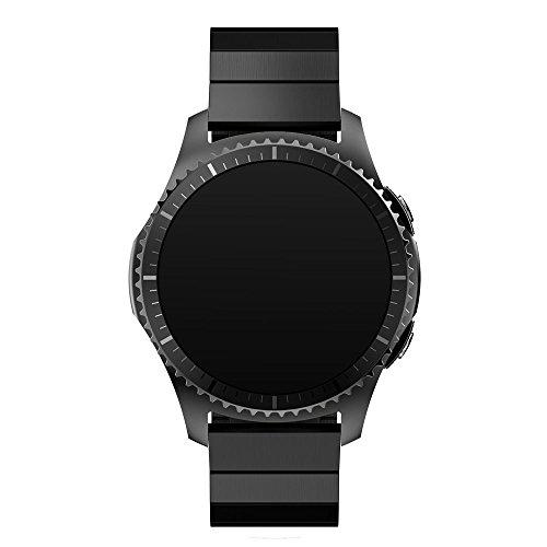 21mm Armbanduhr Band, happytop Edelstahl Armband Ersatz Handschlaufe für Samsung Gear S3Frontier S schwarz (Jugend-fußball-uhr)