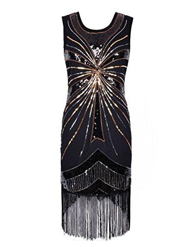 Kayamiya Damen 1920er Pailletten Perlen Verschönerung Gatsby Flapper Kleid S Schwarz (Pailletten 1920er Jahren Kleid)