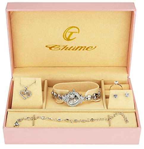 Coffret Cadeau Montre Femme - Parure de Bijoux- Collier-Bague- Boucles d'oreilles - Bracelet