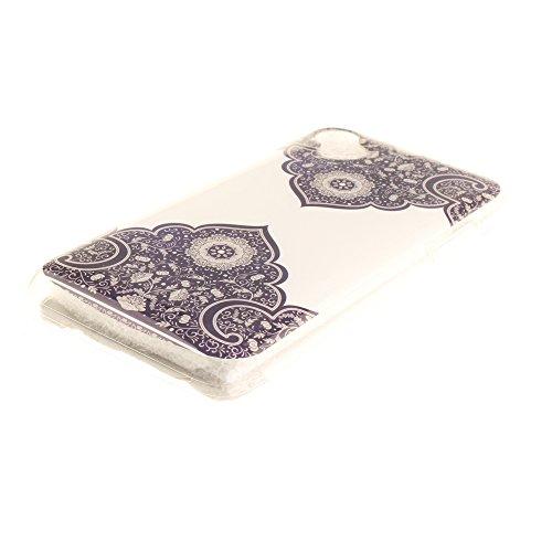 Wiko Sunny hülle,MCHSHOP Ultra Slim Skin Gel TPU hülle weiche Silicone Silikon Schutzhülle Case für Wiko Sunny - 1 Kostenlose Stylus (Weiße große Blume) Totem Blume