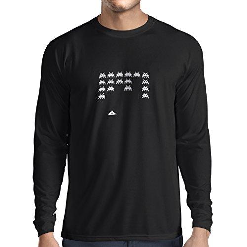 T-Shirt mit langen Ärmeln Weinlese pc maniacs lustige Gamergeschenke lustige Gamerhemden (Large Schwarz Fluoreszierend)