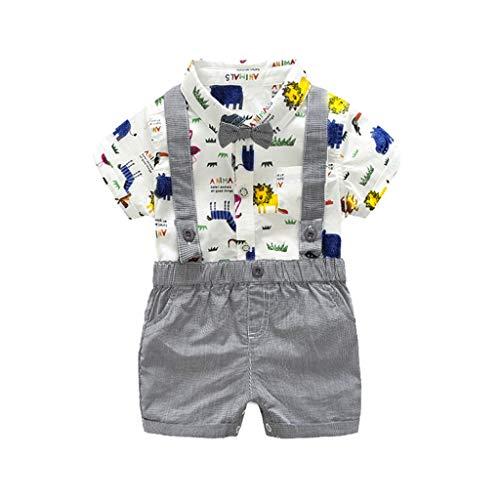 Makalon 1-5 Jahre Baby Junge Sommer Mode organisch Baumwolle Freizeit Krawatte Bogen T-Shirt Kurze Ärmel Hemd Kurze Latzhose 2 Stück Outfit Sets Kinder Frühling Süß Bekleidungssets (Und Grünen Hosenträger Bogen-krawatte)