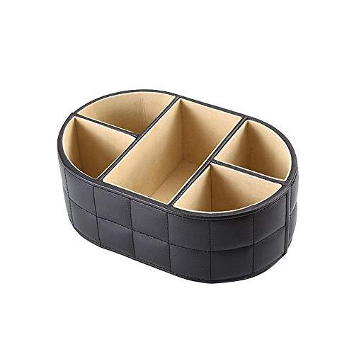 GHJDGJ Desktop-Speicher Ovale Desktop Aufbewahrungsbox Leder Fernbedienung Aufbewahrungsbox Kosmetik Aufbewahrungsbox -