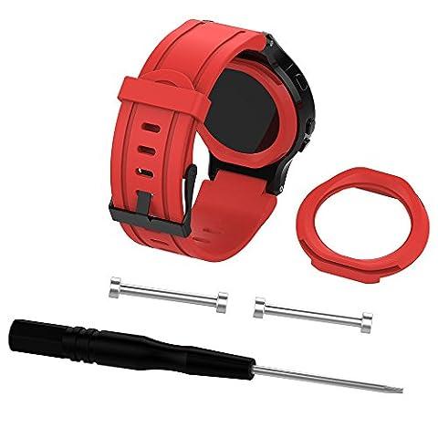 euzeo Soft Silikon Ersatz Armbanduhr Band + Schutzhülle für Garmin Forerunner 225GPS-Uhr