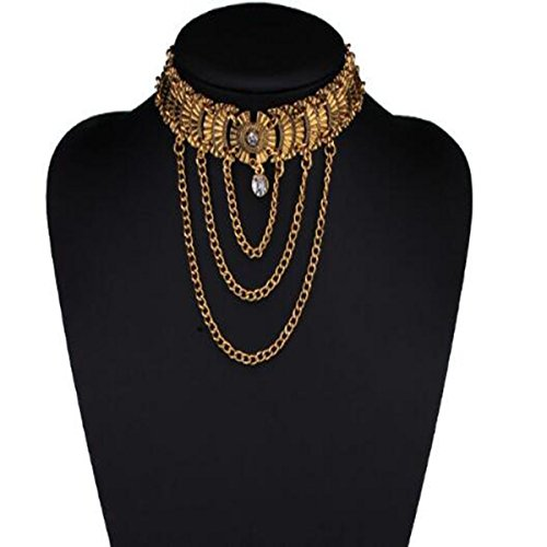 HSNZZPP Damen Schmuck Luxus-Retro-Schmuck Mode Quaste Multi-Layer-Kette Spange Halskette Weibliche,Gold-OneSize Perlen-halskette Spangen